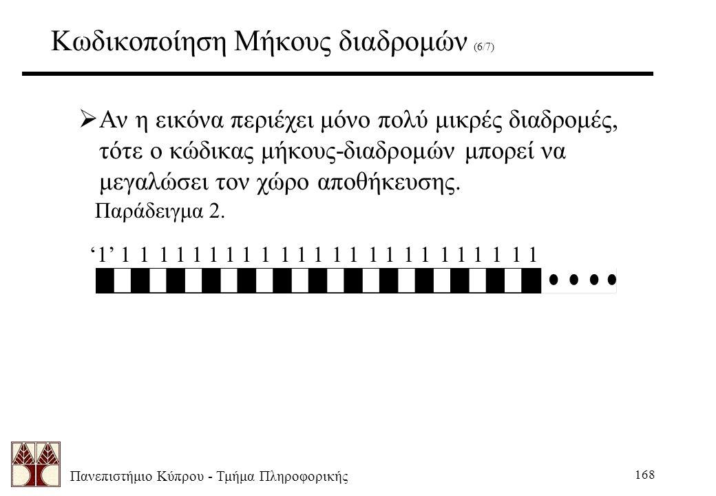 Πανεπιστήμιο Κύπρου - Τμήμα Πληροφορικής 168 Κωδικοποίηση Μήκους διαδρομών (6/7)  Αν η εικόνα περιέχει μόνο πολύ μικρές διαδρομές, τότε ο κώδικας μήκους-διαδρομών μπορεί να μεγαλώσει τον χώρο αποθήκευσης.