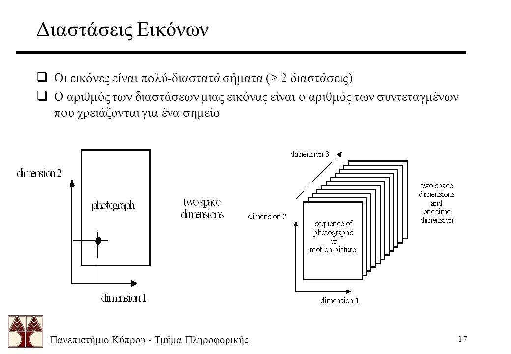 Πανεπιστήμιο Κύπρου - Τμήμα Πληροφορικής 17 Διαστάσεις Εικόνων  Οι εικόνες είναι πολύ-διαστατά σήματα (  2 διαστάσεις)  Ο αριθμός των διαστάσεων μιας εικόνας είναι ο αριθμός των συντεταγμένων που χρειάζονται για ένα σημείο