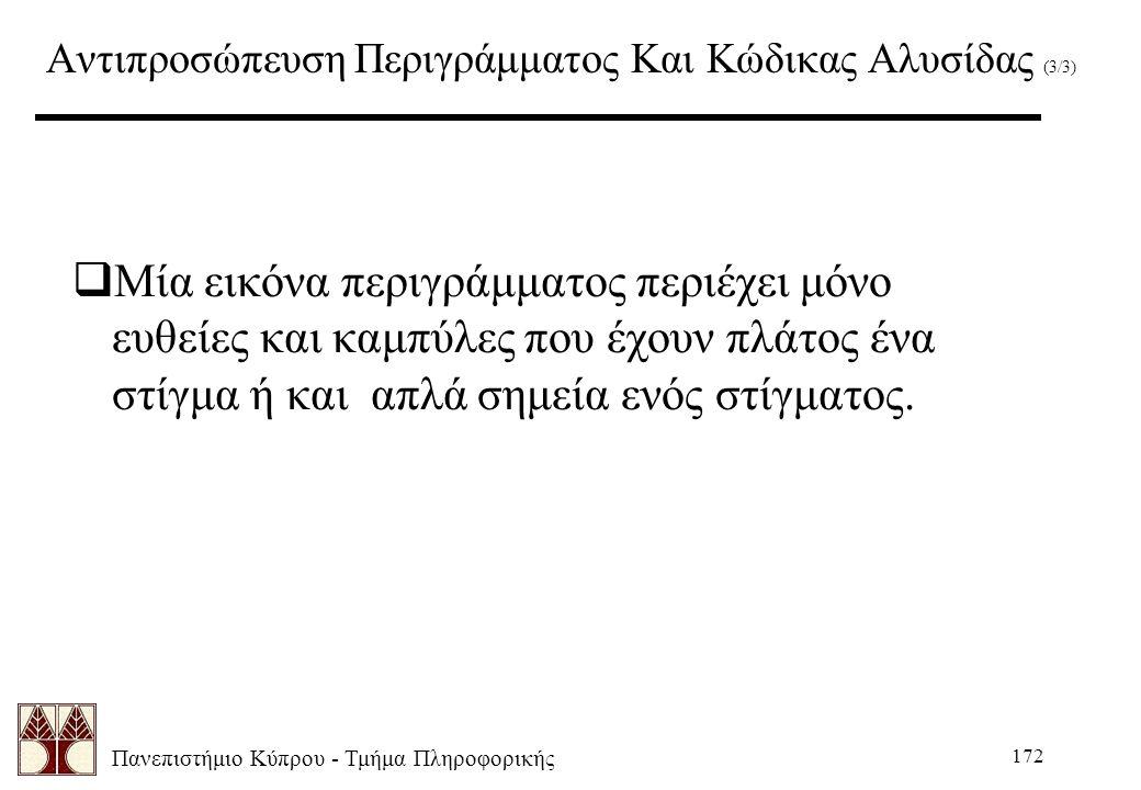 Πανεπιστήμιο Κύπρου - Τμήμα Πληροφορικής 172 Αντιπροσώπευση Περιγράμματος Και Κώδικας Αλυσίδας (3/3)  Μία εικόνα περιγράμματος περιέχει μόνο ευθείες και καμπύλες που έχουν πλάτος ένα στίγμα ή και απλά σημεία ενός στίγματος.