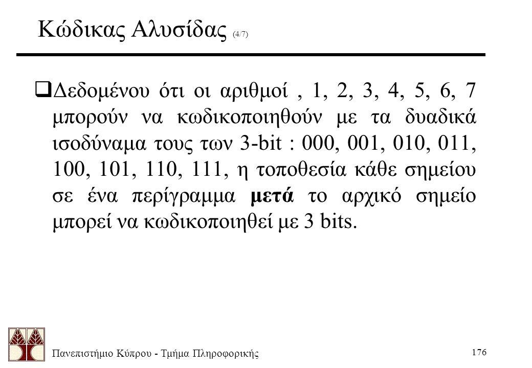 Πανεπιστήμιο Κύπρου - Τμήμα Πληροφορικής 176 Κώδικας Αλυσίδας (4/7)  Δεδομένου ότι οι αριθμοί, 1, 2, 3, 4, 5, 6, 7 μπορούν να κωδικοποιηθούν με τα δυαδικά ισοδύναμα τους των 3-bit : 000, 001, 010, 011, 100, 101, 110, 111, η τοποθεσία κάθε σημείου σε ένα περίγραμμα μετά το αρχικό σημείο μπορεί να κωδικοποιηθεί με 3 bits.