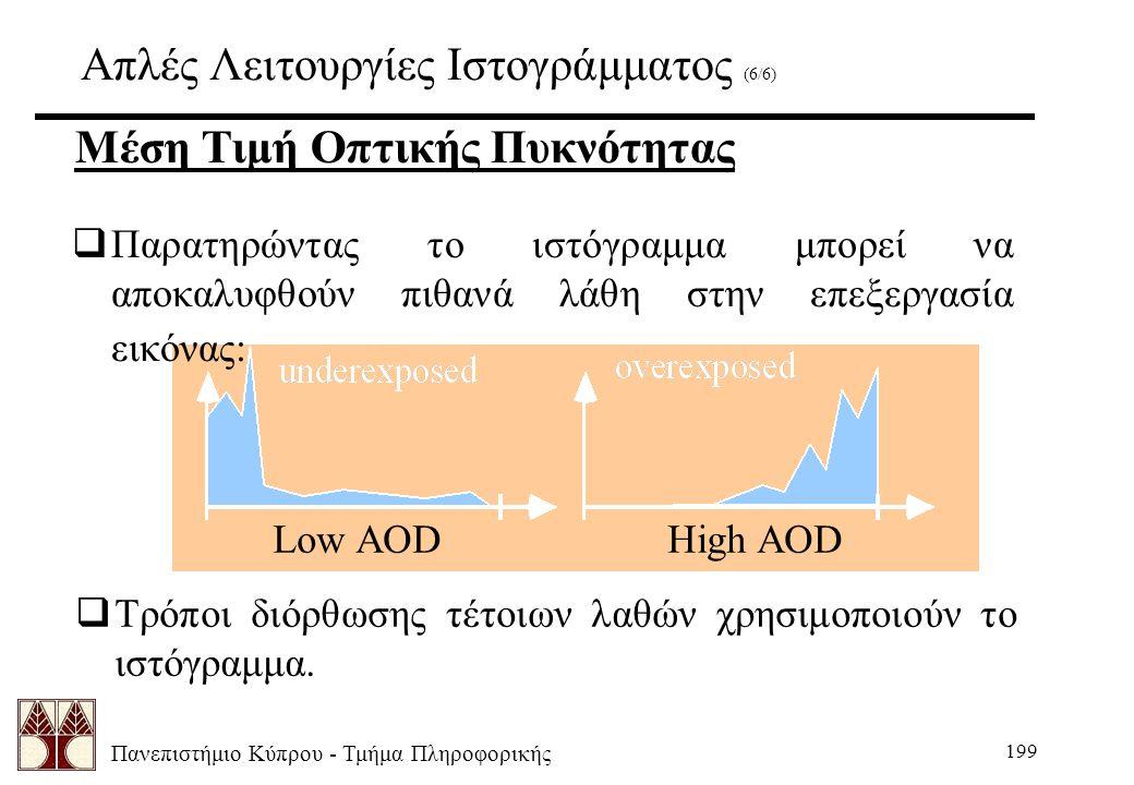 Πανεπιστήμιο Κύπρου - Τμήμα Πληροφορικής 199 Απλές Λειτουργίες Ιστογράμματος (6/6)  Παρατηρώντας το ιστόγραμμα μπορεί να αποκαλυφθούν πιθανά λάθη στην επεξεργασία εικόνας: Μέση Τιμή Οπτικής Πυκνότητας Low AOD High AOD  Τρόποι διόρθωσης τέτοιων λαθών χρησιμοποιούν το ιστόγραμμα.