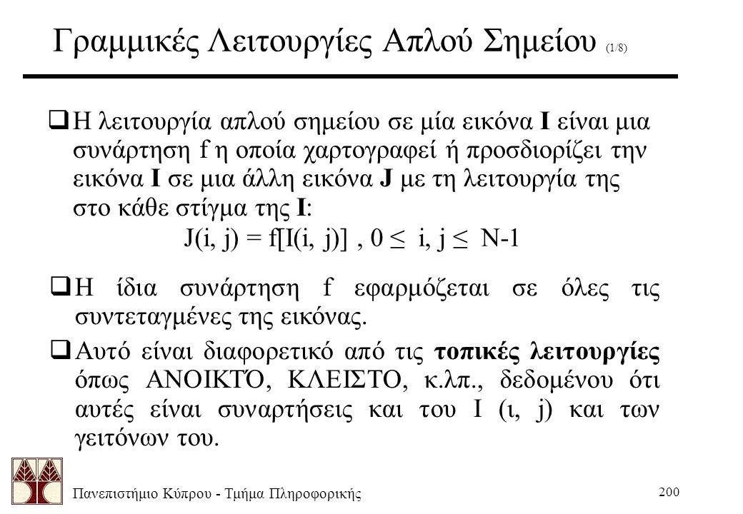 Πανεπιστήμιο Κύπρου - Τμήμα Πληροφορικής 200 Γραμμικές Λειτουργίες Απλού Σημείου (1/8)  Η λειτουργία απλού σημείου σε μία εικόνα Ι είναι μια συνάρτηση f η οποία χαρτογραφεί ή προσδιορίζει την εικόνα Ι σε μια άλλη εικόνα J με τη λειτουργία της στο κάθε στίγμα της I: J(i, j) = f[I(i, j)], 0 ≤ i, j ≤ N-1  Η ίδια συνάρτηση f εφαρμόζεται σε όλες τις συντεταγμένες της εικόνας.