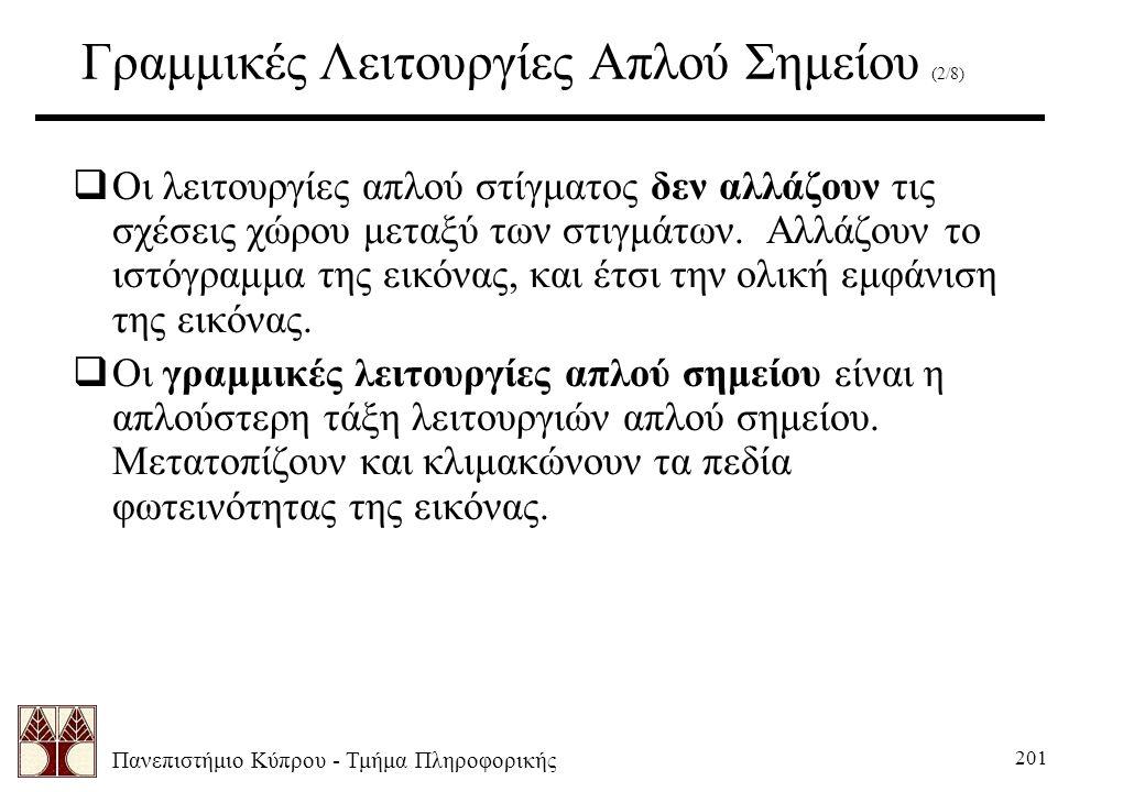 Πανεπιστήμιο Κύπρου - Τμήμα Πληροφορικής 201 Γραμμικές Λειτουργίες Απλού Σημείου (2/8)  Οι λειτουργίες απλού στίγματος δεν αλλάζουν τις σχέσεις χώρου μεταξύ των στιγμάτων.