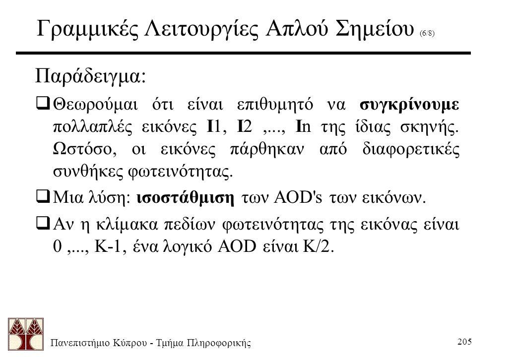 Πανεπιστήμιο Κύπρου - Τμήμα Πληροφορικής 205 Γραμμικές Λειτουργίες Απλού Σημείου (6/8) Παράδειγμα:  Θεωρούμαι ότι είναι επιθυμητό να συγκρίνουμε πολλαπλές εικόνες I1, I2,..., In της ίδιας σκηνής.