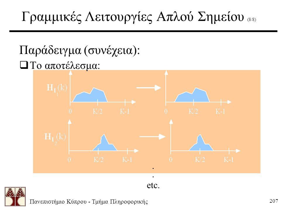 Πανεπιστήμιο Κύπρου - Τμήμα Πληροφορικής 207 Γραμμικές Λειτουργίες Απλού Σημείου (8/8) Παράδειγμα (συνέχεια):  Το αποτέλεσμα:.