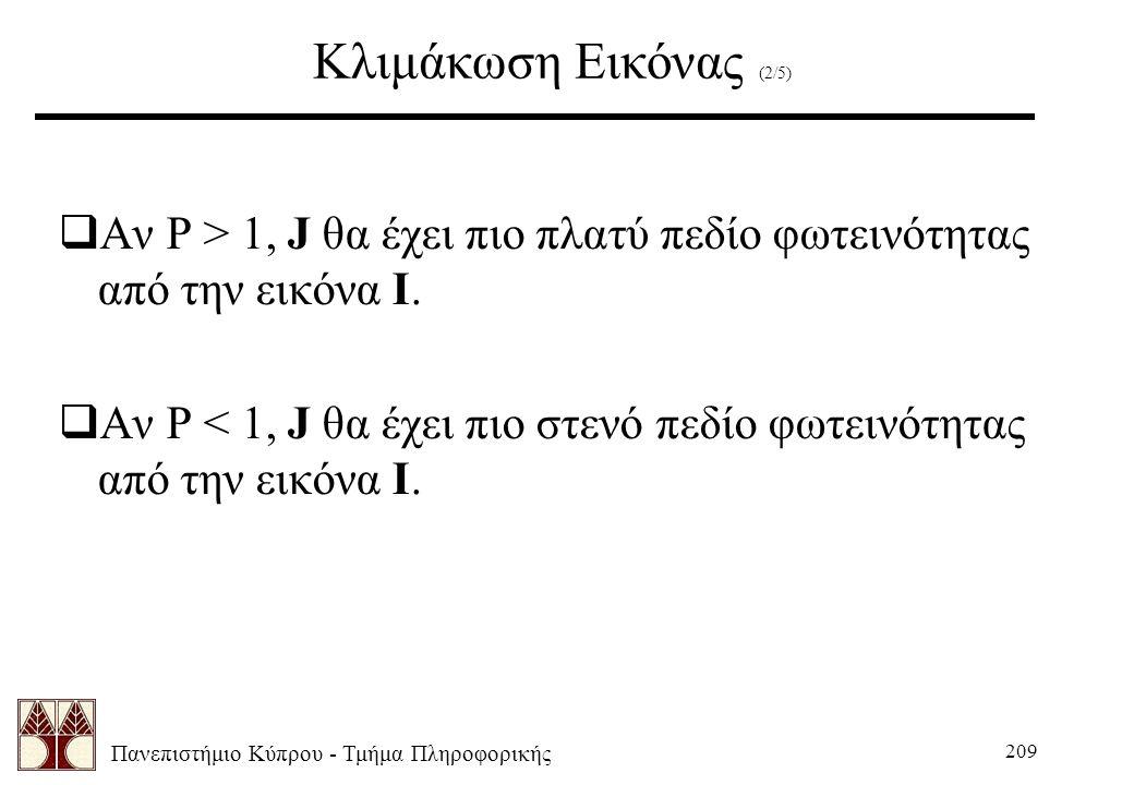 Πανεπιστήμιο Κύπρου - Τμήμα Πληροφορικής 209 Κλιμάκωση Εικόνας (2/5)  Αν P > 1, J θα έχει πιο πλατύ πεδίο φωτεινότητας από την εικόνα Ι.