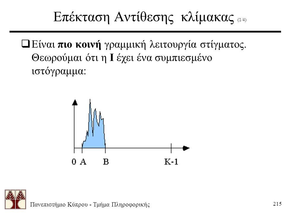 Πανεπιστήμιο Κύπρου - Τμήμα Πληροφορικής 215 Επέκταση Αντίθεσης κλίμακας (1/4)  Είναι πιο κοινή γραμμική λειτουργία στίγματος. Θεωρούμαι ότι η Ι έχει