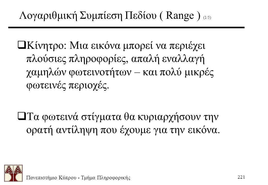 Πανεπιστήμιο Κύπρου - Τμήμα Πληροφορικής 221 Λογαριθμική Συμπίεση Πεδίου ( Range ) (1/5)  Κίνητρο: Μια εικόνα μπορεί να περιέχει πλούσιες πληροφορίες