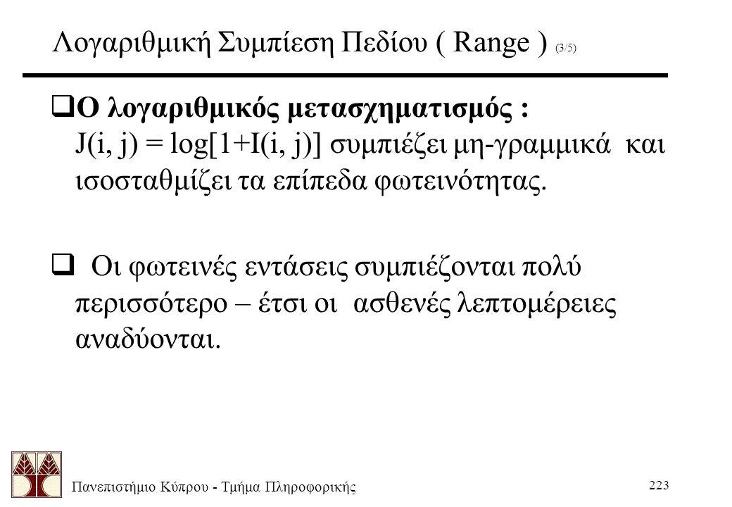 Πανεπιστήμιο Κύπρου - Τμήμα Πληροφορικής 223 Λογαριθμική Συμπίεση Πεδίου ( Range ) (3/5)  Ο λογαριθμικός μετασχηματισμός : J(i, j) = log[1+I(i, j)] συμπιέζει μη-γραμμικά και ισοσταθμίζει τα επίπεδα φωτεινότητας.
