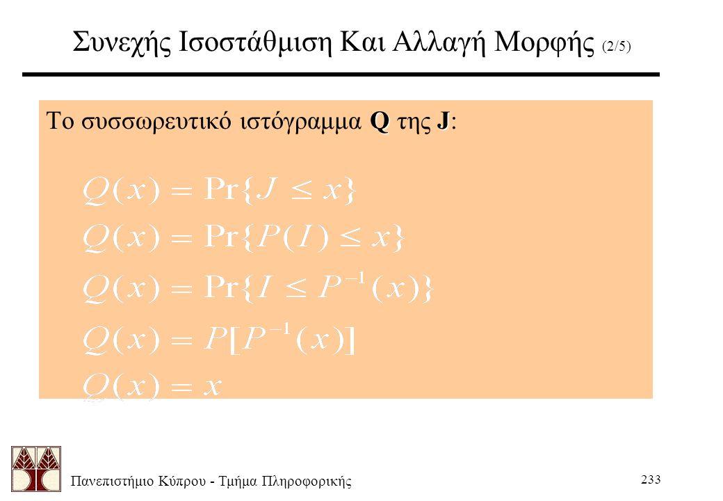 Πανεπιστήμιο Κύπρου - Τμήμα Πληροφορικής 233 Συνεχής Ισοστάθμιση Και Αλλαγή Μορφής (2/5) QJ Το συσσωρευτικό ιστόγραμμα Q της J: