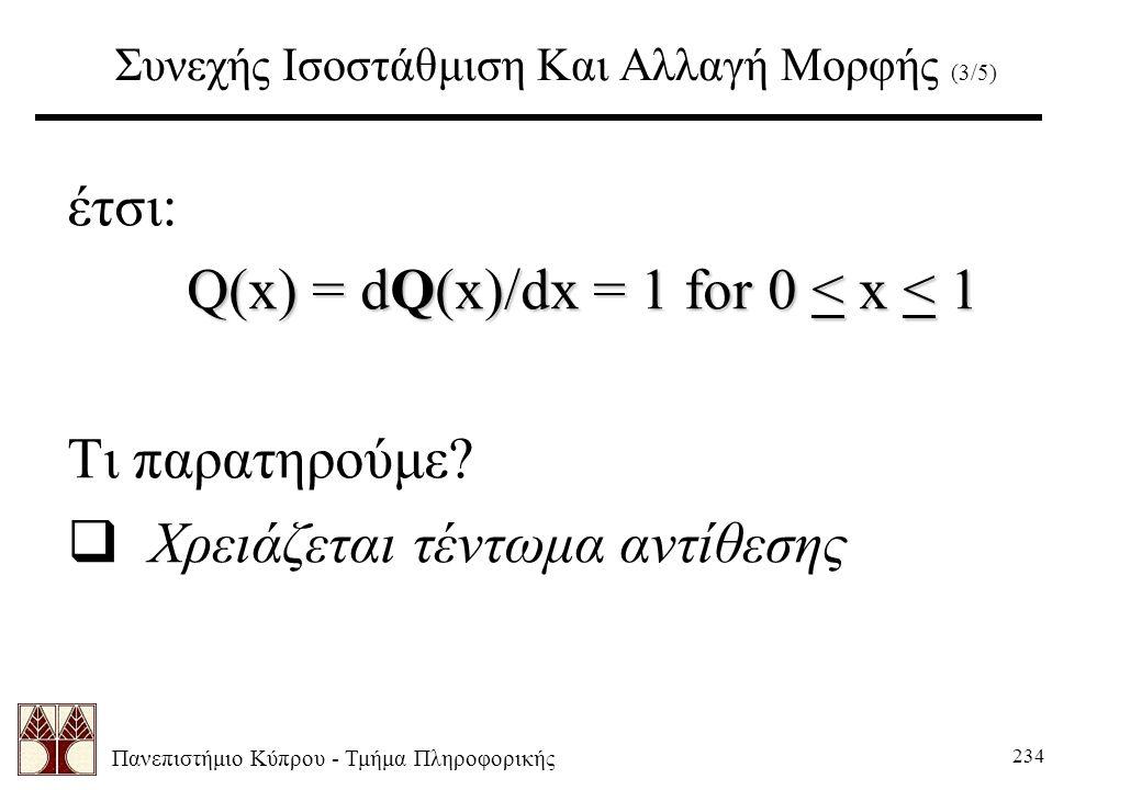 Πανεπιστήμιο Κύπρου - Τμήμα Πληροφορικής 234 Συνεχής Ισοστάθμιση Και Αλλαγή Μορφής (3/5) έτσι: Q(x) = dQ(x)/dx = 1 for 0 < x < 1 Τι παρατηρούμε.