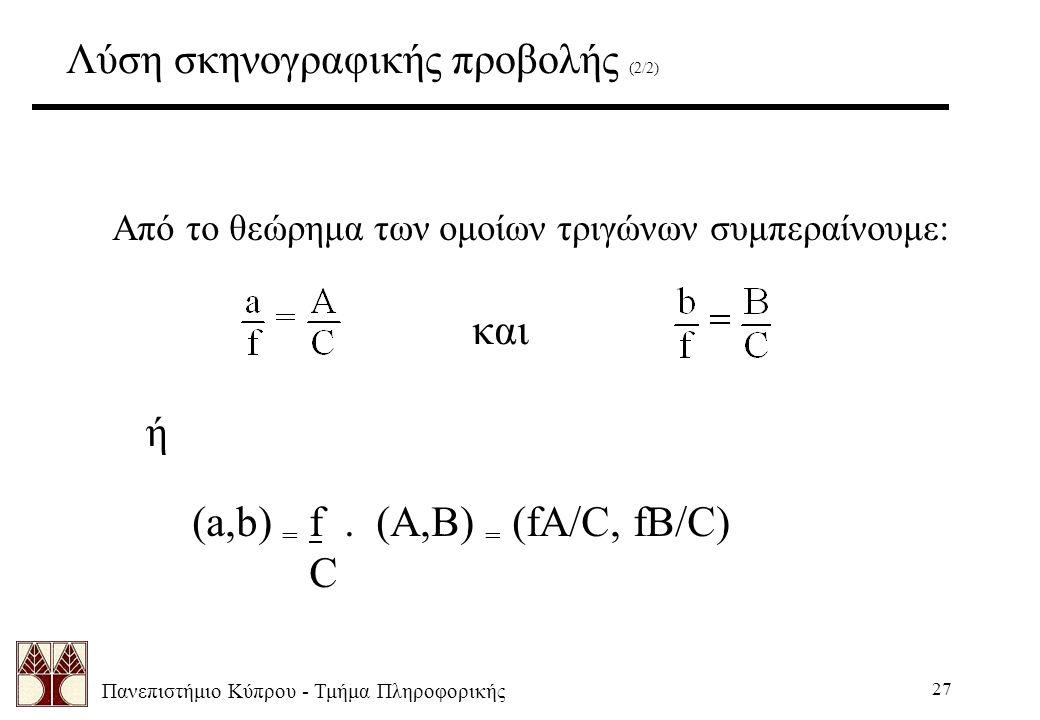 Πανεπιστήμιο Κύπρου - Τμήμα Πληροφορικής 27 Λύση σκηνογραφικής προβολής (2/2) Από το θεώρημα των ομοίων τριγώνων συμπεραίνουμε: και ή (a,b) = f. (A,B)