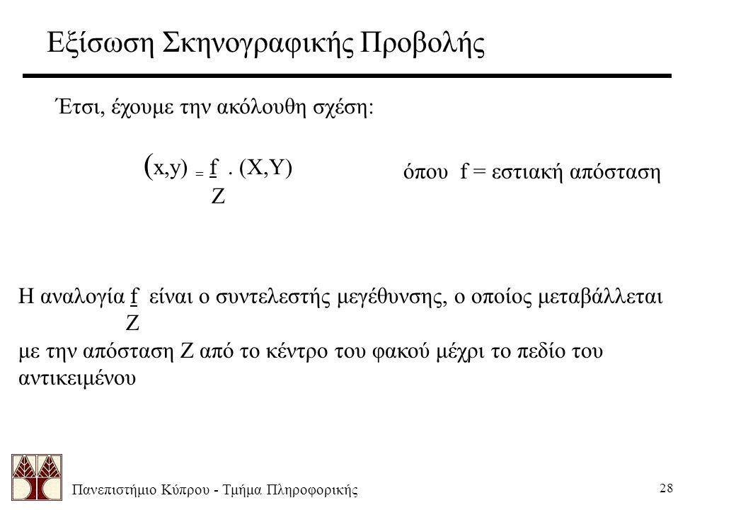 Πανεπιστήμιο Κύπρου - Τμήμα Πληροφορικής 28 Εξίσωση Σκηνογραφικής Προβολής Έτσι, έχουμε την ακόλουθη σχέση: ( x,y) = f. (X,Y) Z όπου f = εστιακή απόστ