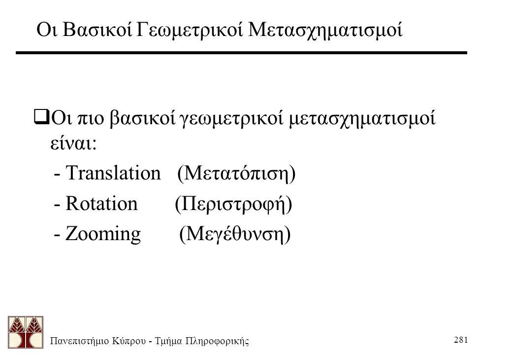 Πανεπιστήμιο Κύπρου - Τμήμα Πληροφορικής 281 Οι Βασικοί Γεωμετρικοί Μετασχηματισμοί  Οι πιο βασικοί γεωμετρικοί μετασχηματισμοί είναι: - Translation (Μετατόπιση) - Rotation (Περιστροφή) - Zooming (Μεγέθυνση)