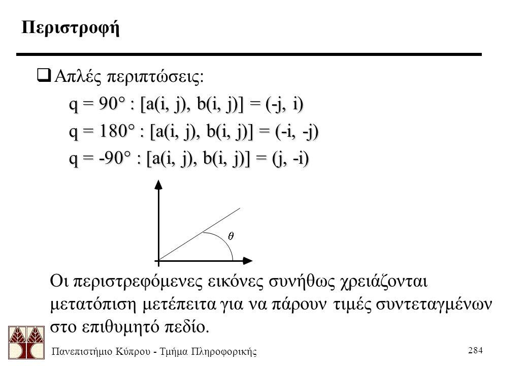 Πανεπιστήμιο Κύπρου - Τμήμα Πληροφορικής 284  Απλές περιπτώσεις: q = 90° : [a(i, j), b(i, j)] = (-j, i) q = 180° : [a(i, j), b(i, j)] = (-i, -j) q = 180° : [a(i, j), b(i, j)] = (-i, -j) q = -90° : [a(i, j), b(i, j)] = (j, -i) q = -90° : [a(i, j), b(i, j)] = (j, -i)  Οι περιστρεφόμενες εικόνες συνήθως χρειάζονται μετατόπιση μετέπειτα για να πάρουν τιμές συντεταγμένων στο επιθυμητό πεδίο.