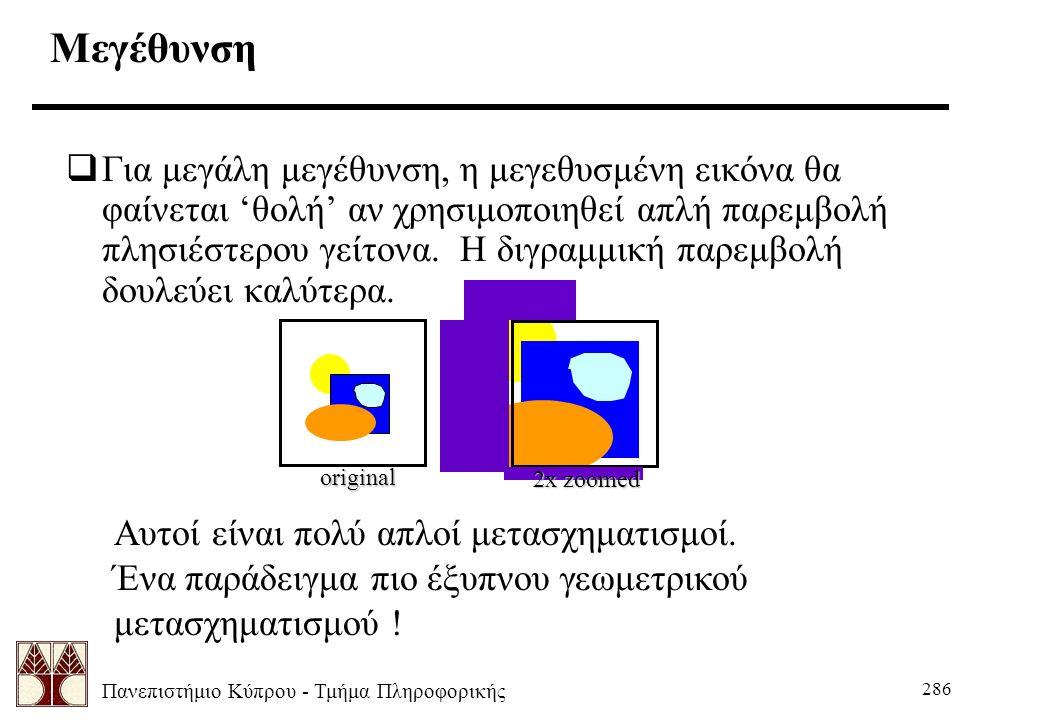Πανεπιστήμιο Κύπρου - Τμήμα Πληροφορικής 286  Για μεγάλη μεγέθυνση, η μεγεθυσμένη εικόνα θα φαίνεται 'θολή' αν χρησιμοποιηθεί απλή παρεμβολή πλησιέστερου γείτονα.
