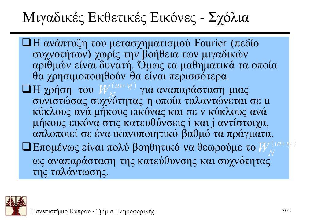 Πανεπιστήμιο Κύπρου - Τμήμα Πληροφορικής 302 Μιγαδικές Εκθετικές Εικόνες - Σχόλια  Η ανάπτυξη του μετασχηματισμού Fourier (πεδίο συχνοτήτων) χωρίς την βοήθεια των μιγαδικών αριθμών είναι δυνατή.