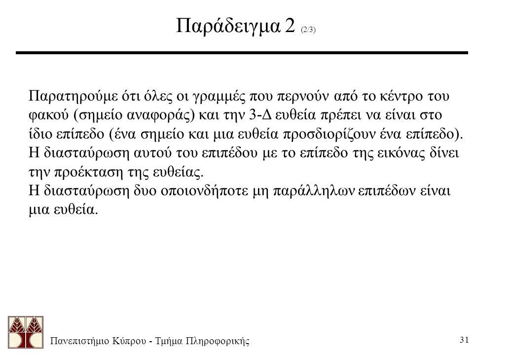 Πανεπιστήμιο Κύπρου - Τμήμα Πληροφορικής 31 Παράδειγμα 2 (2/3) Παρατηρούμε ότι όλες οι γραμμές που περνούν από το κέντρο του φακού (σημείο αναφοράς) κ