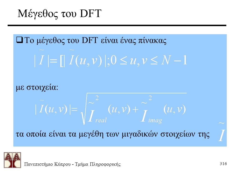 Πανεπιστήμιο Κύπρου - Τμήμα Πληροφορικής 316 Μέγεθος του DFT  Το μέγεθος του DFT είναι ένας πίνακας με στοιχεία: τα οποία είναι τα μεγέθη των μιγαδικών στοιχείων της