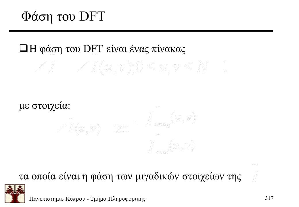 Πανεπιστήμιο Κύπρου - Τμήμα Πληροφορικής 317 Φάση του DFT  Η φάση του DFT είναι ένας πίνακας με στοιχεία: τα οποία είναι η φάση των μιγαδικών στοιχείων της