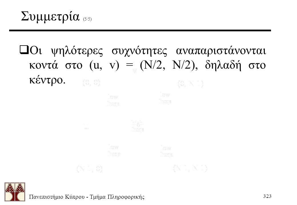Πανεπιστήμιο Κύπρου - Τμήμα Πληροφορικής 323 Συμμετρία (5/5)  Οι ψηλότερες συχνότητες αναπαριστάνονται κοντά στο (u, v) = (N/2, N/2), δηλαδή στο κέντρο.