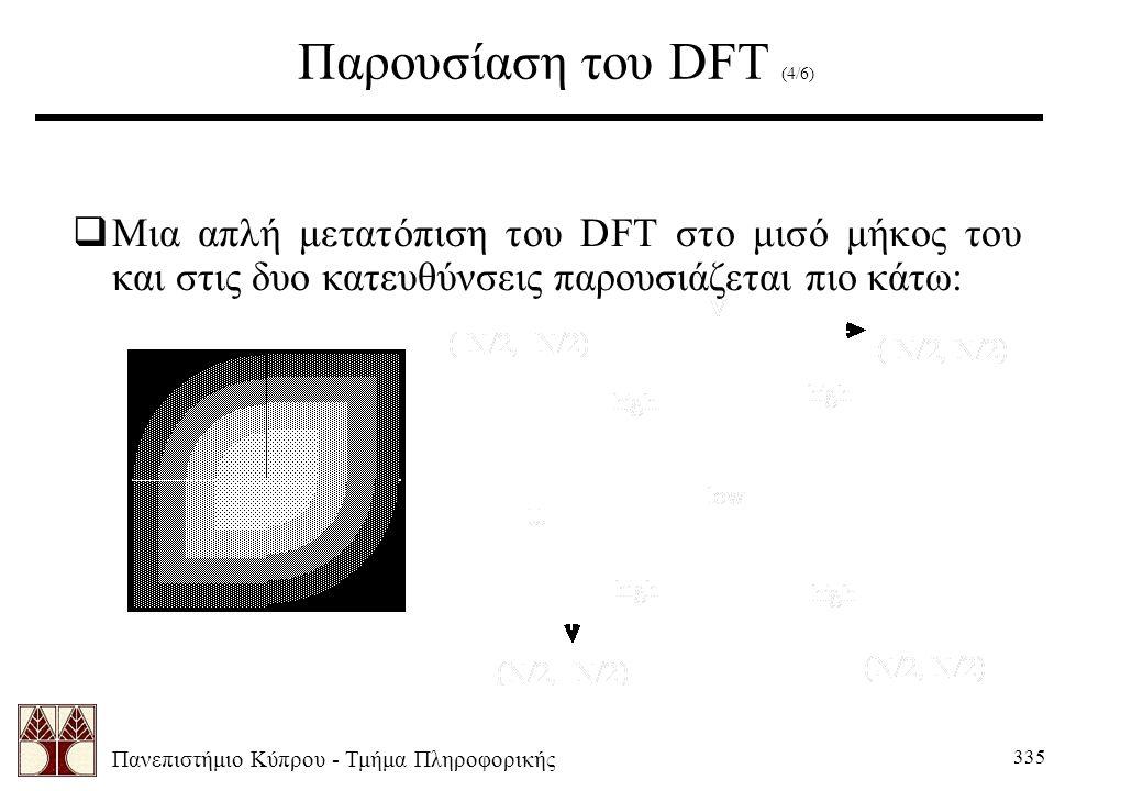 Πανεπιστήμιο Κύπρου - Τμήμα Πληροφορικής 335 Παρουσίαση του DFT (4/6)  Μια απλή μετατόπιση του DFT στο μισό μήκος του και στις δυο κατευθύνσεις παρουσιάζεται πιο κάτω: Centered DFT