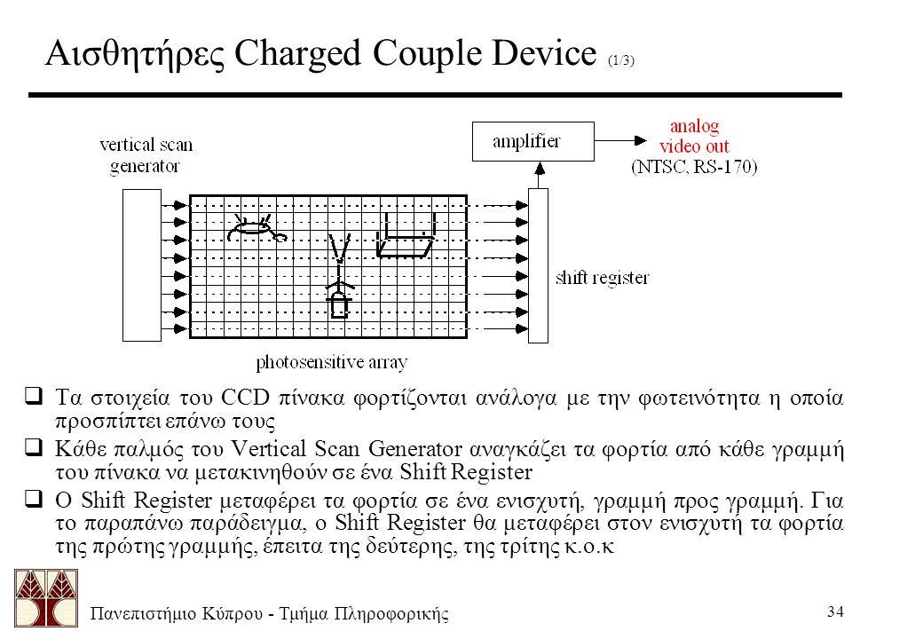 Πανεπιστήμιο Κύπρου - Τμήμα Πληροφορικής 34 Αισθητήρες Charged Couple Device (1/3)  Τα στοιχεία του CCD πίνακα φορτίζονται ανάλογα με την φωτεινότητα η οποία προσπίπτει επάνω τους  Κάθε παλμός του Vertical Scan Generator αναγκάζει τα φορτία από κάθε γραμμή του πίνακα να μετακινηθούν σε ένα Shift Register  Ο Shift Register μεταφέρει τα φορτία σε ένα ενισχυτή, γραμμή προς γραμμή.