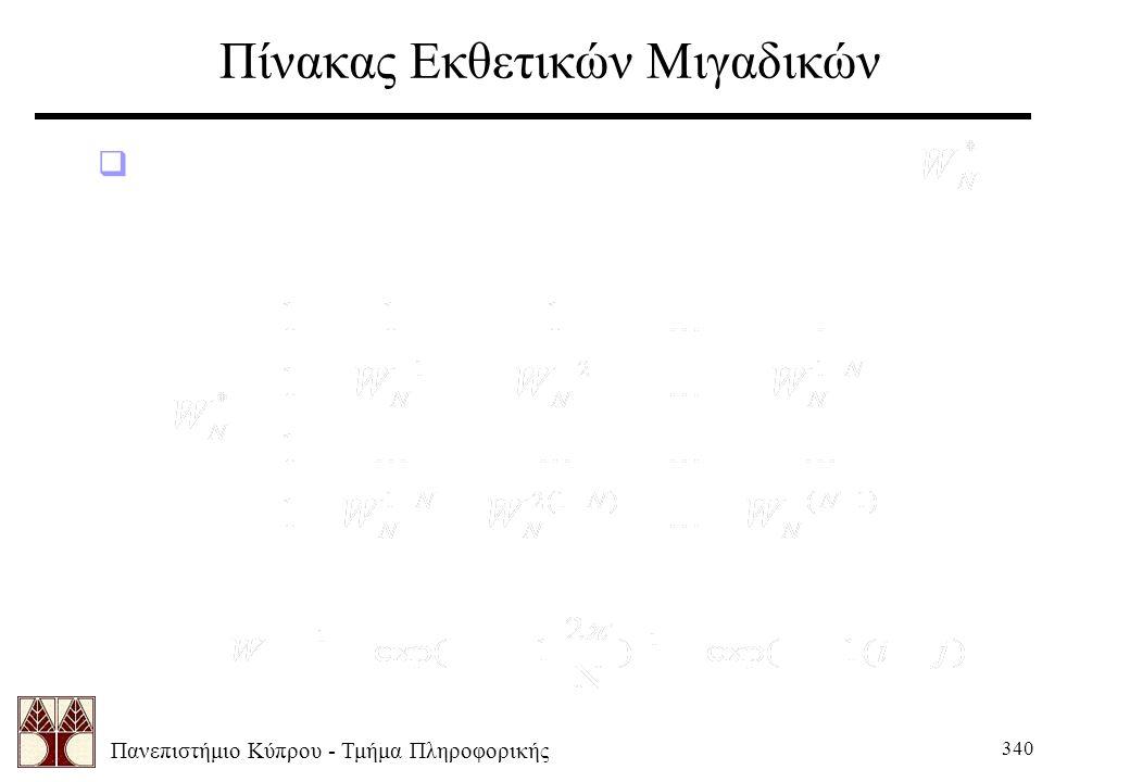 Πανεπιστήμιο Κύπρου - Τμήμα Πληροφορικής 340 Πίνακας Εκθετικών Μιγαδικών  Στην προηγούμενη εξίσωση, το στοιχείο καθορίζεται από τον εξής πίνακα: όπου