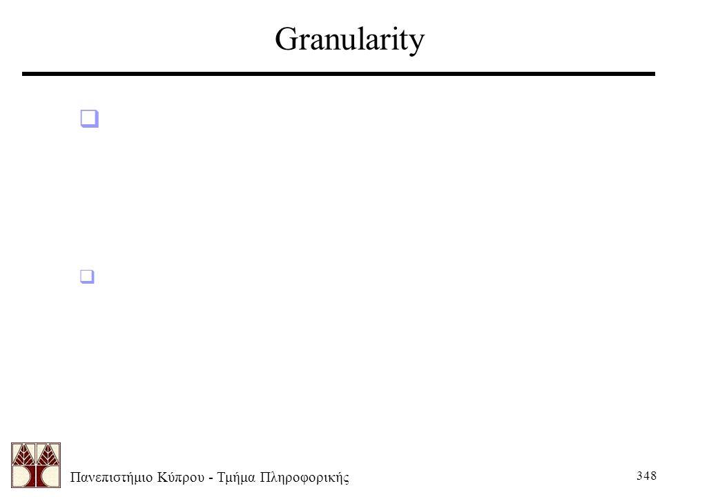 Πανεπιστήμιο Κύπρου - Τμήμα Πληροφορικής 348 Granularity  Μεγάλες τιμές κοντά στο κέντρο του DFT αντιστοιχούν σε μεγάλες ομαλές περιοχές της εικόνας