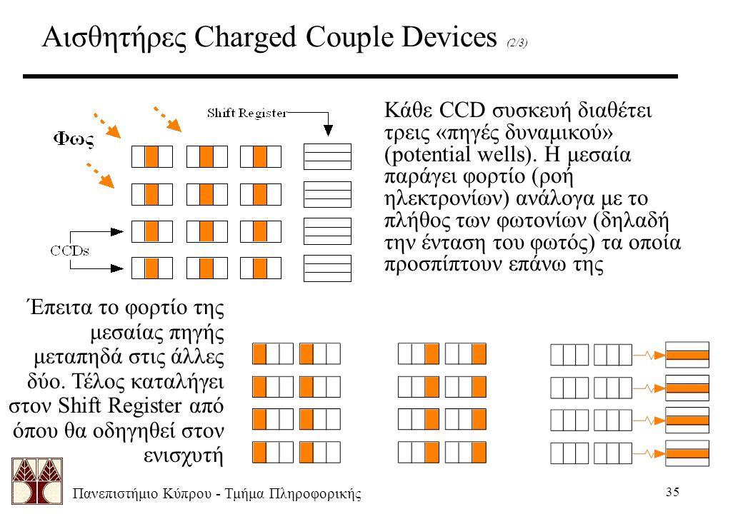 Πανεπιστήμιο Κύπρου - Τμήμα Πληροφορικής 35 Αισθητήρες Charged Couple Devices (2/3) Κάθε CCD συσκευή διαθέτει τρεις «πηγές δυναμικού» (potential wells).