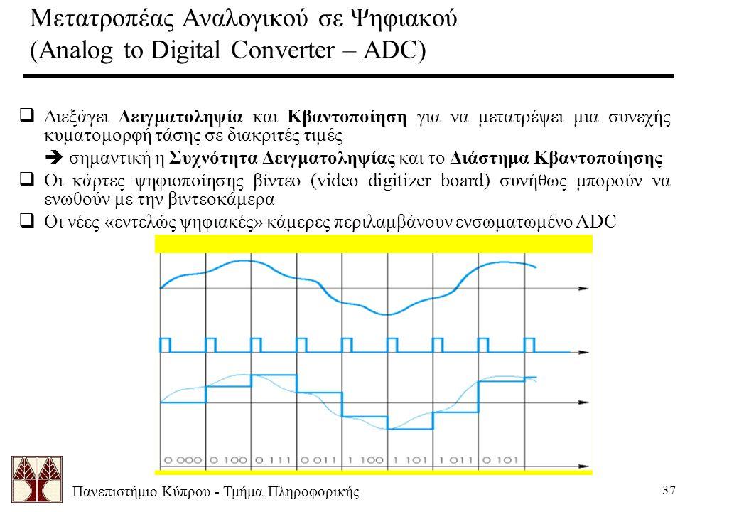 Πανεπιστήμιο Κύπρου - Τμήμα Πληροφορικής 37 Μετατροπέας Αναλογικού σε Ψηφιακού (Analog to Digital Converter – ADC)  Διεξάγει Δειγματοληψία και Κβαντοποίηση για να μετατρέψει μια συνεχής κυματομορφή τάσης σε διακριτές τιμές  σημαντική η Συχνότητα Δειγματοληψίας και το Διάστημα Κβαντοποίησης  Οι κάρτες ψηφιοποίησης βίντεο (video digitizer board) συνήθως μπορούν να ενωθούν με την βιντεοκάμερα  Οι νέες «εντελώς ψηφιακές» κάμερες περιλαμβάνουν ενσωματωμένο ADC