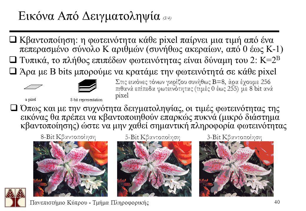 Πανεπιστήμιο Κύπρου - Τμήμα Πληροφορικής 40 Εικόνα Από Δειγματοληψία (3/4)  Κβαντοποίηση: η φωτεινότητα κάθε pixel παίρνει μια τιμή από ένα πεπερασμέ