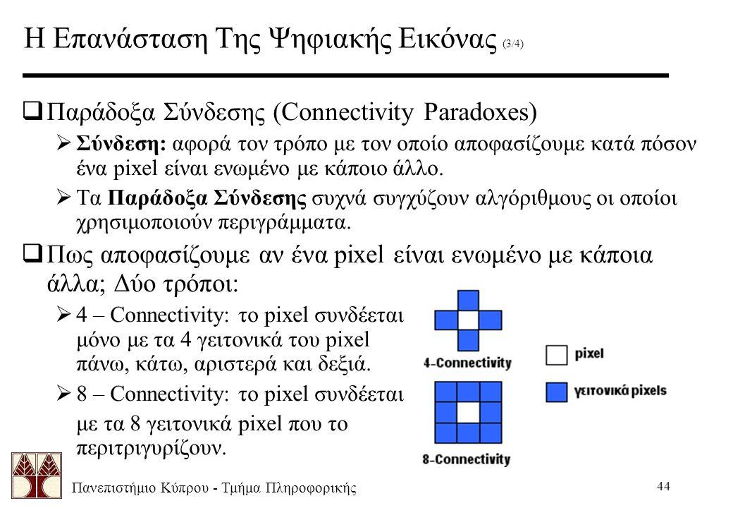 Πανεπιστήμιο Κύπρου - Τμήμα Πληροφορικής 44 Η Επανάσταση Της Ψηφιακής Εικόνας (3/4)  Παράδοξα Σύνδεσης (Connectivity Paradoxes)  Σύνδεση: αφορά τον τρόπο με τον οποίο αποφασίζουμε κατά πόσον ένα pixel είναι ενωμένο με κάποιο άλλο.