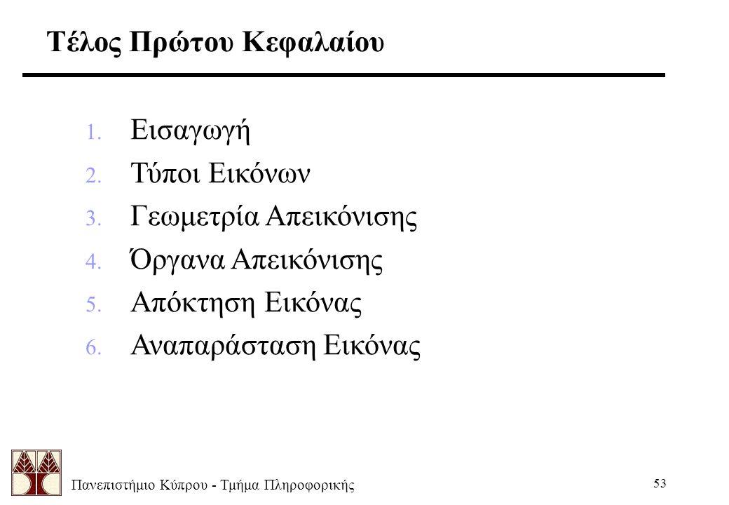 Πανεπιστήμιο Κύπρου - Τμήμα Πληροφορικής 53 Τέλος Πρώτου Κεφαλαίου 1. Εισαγωγή 2. Τύποι Εικόνων 3. Γεωμετρία Απεικόνισης 4. Όργανα Απεικόνισης 5. Απόκ