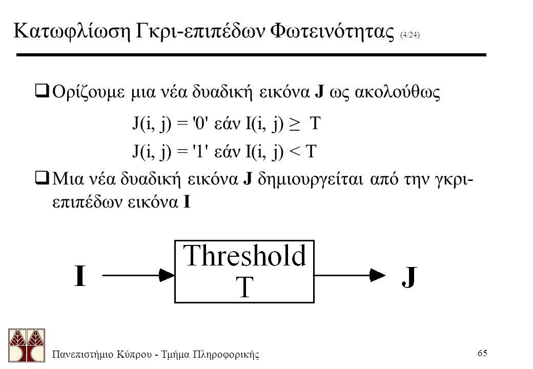 Πανεπιστήμιο Κύπρου - Τμήμα Πληροφορικής 65  Ορίζουμε μια νέα δυαδική εικόνα J ως ακολούθως J(i, j) = 0 εάν I(i, j) ≥ T J(i, j) = 1 εάν I(i, j) < T  Μια νέα δυαδική εικόνα J δημιουργείται από την γκρι- επιπέδων εικόνα I Κατωφλίωση Γκρι-επιπέδων Φωτεινότητας (4/24)