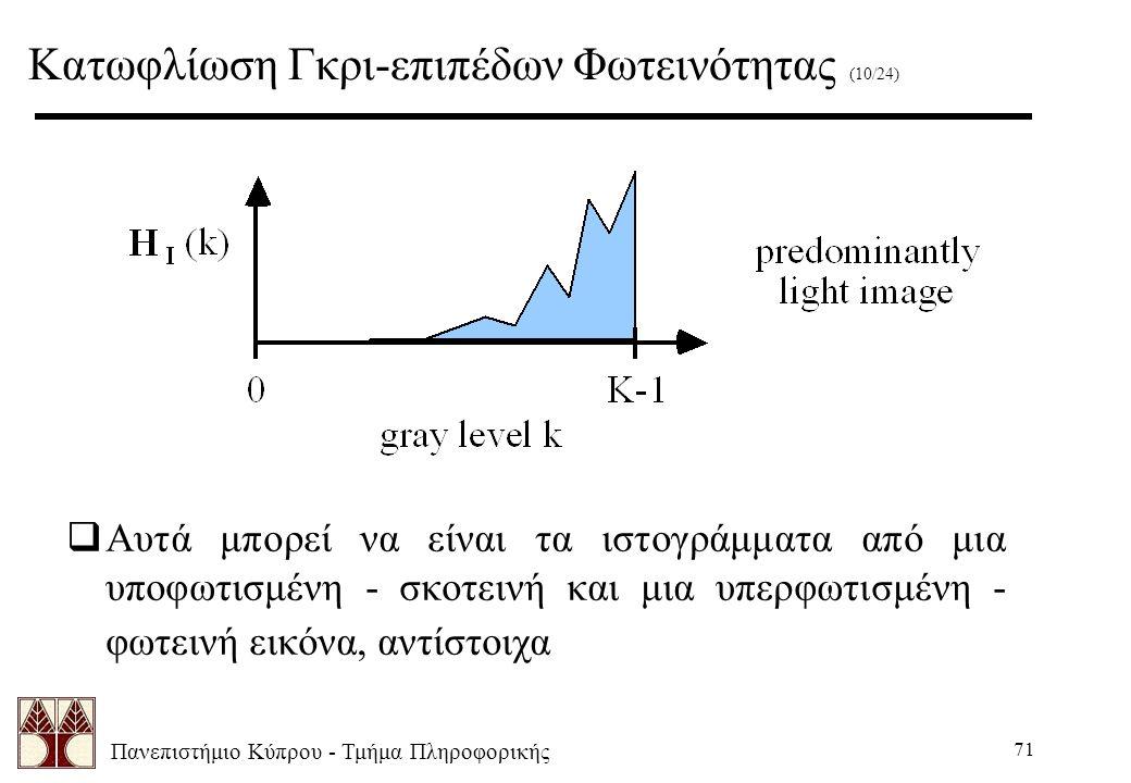 Πανεπιστήμιο Κύπρου - Τμήμα Πληροφορικής 71  Αυτά μπορεί να είναι τα ιστογράμματα από μια υποφωτισμένη - σκοτεινή και μια υπερφωτισμένη - φωτεινή εικόνα, αντίστοιχα Κατωφλίωση Γκρι-επιπέδων Φωτεινότητας (10/24)