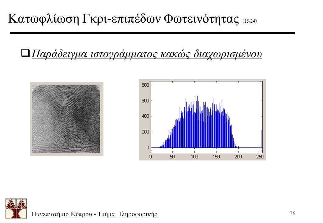 Πανεπιστήμιο Κύπρου - Τμήμα Πληροφορικής 76  Παράδειγμα ιστογράμματος κακώς διαχωρισμένου Κατωφλίωση Γκρι-επιπέδων Φωτεινότητας (15/24)