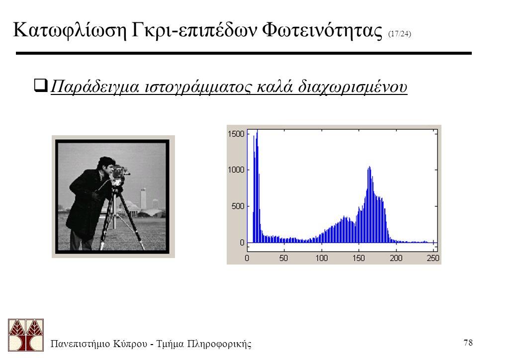 Πανεπιστήμιο Κύπρου - Τμήμα Πληροφορικής 78  Παράδειγμα ιστογράμματος καλά διαχωρισμένου Κατωφλίωση Γκρι-επιπέδων Φωτεινότητας (17/24)