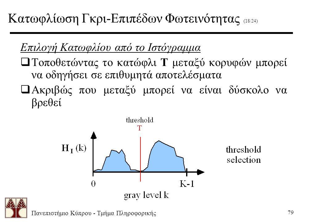 Πανεπιστήμιο Κύπρου - Τμήμα Πληροφορικής 79 Επιλογή Κατωφλίου από το Ιστόγραμμα  Τοποθετώντας το κατώφλι T μεταξύ κορυφών μπορεί να οδηγήσει σε επιθυμητά αποτελέσματα  Ακριβώς που μεταξύ μπορεί να είναι δύσκολο να βρεθεί Κατωφλίωση Γκρι-Επιπέδων Φωτεινότητας (18/24)