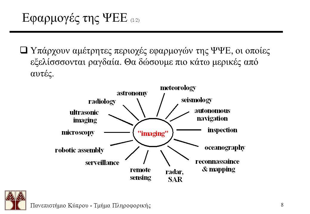 Πανεπιστήμιο Κύπρου - Τμήμα Πληροφορικής 8 Εφαρμογές της ΨΕΕ (1/2)  Υπάρχουν αμέτρητες περιοχές εφαρμογών της ΨΨΕ, οι οποίες εξελίσσσονται ραγδαία.