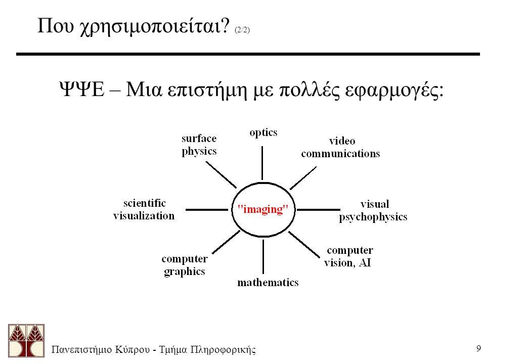 Πανεπιστήμιο Κύπρου - Τμήμα Πληροφορικής 9 Που χρησιμοποιείται.