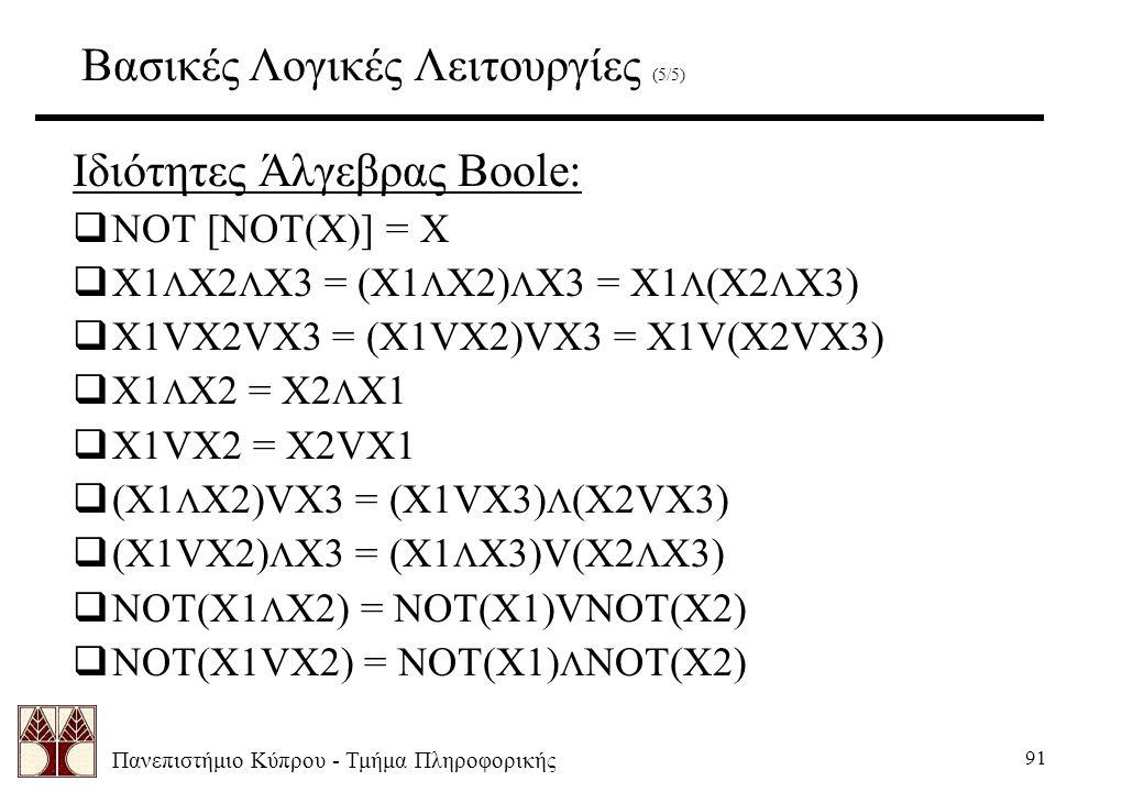 Πανεπιστήμιο Κύπρου - Τμήμα Πληροφορικής 91 Ιδιότητες Άλγεβρας Boole:  NOT [NOT(X)] = X  X1 Λ X2 Λ X3 = (X1 Λ X2) Λ X3 = X1 Λ (X2 Λ X3)  X1VX2VX3 = (X1VX2)VX3 = X1V(X2VX3)  X1 Λ X2 = X2 Λ X1  X1VX2 = X2VX1  (X1 Λ X2)VX3 = (X1VX3) Λ (X2VX3)  (X1VX2) Λ X3 = (X1 Λ X3)V(X2 Λ X3)  NOT(X1 Λ X2) = NOT(X1)VNOT(X2)  NOT(X1VX2) = NOT(X1) Λ NOT(X2) Βασικές Λογικές Λειτουργίες (5/5)