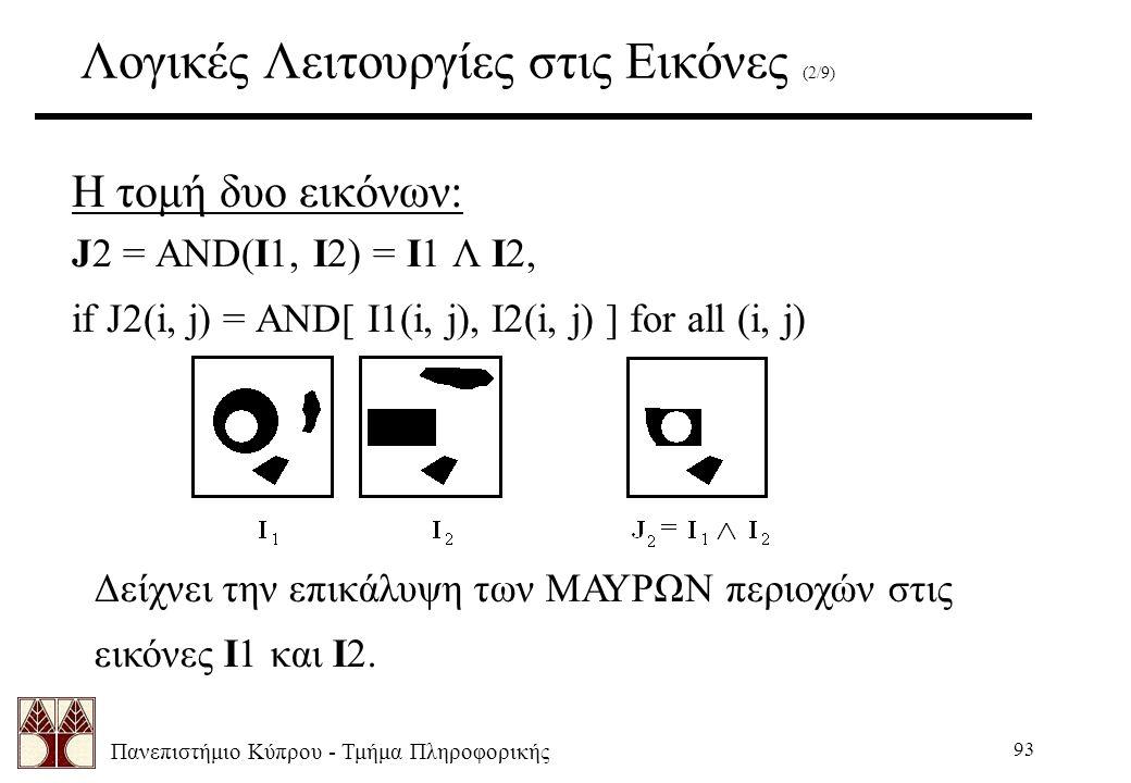 Πανεπιστήμιο Κύπρου - Τμήμα Πληροφορικής 93 Λογικές Λειτουργίες στις Εικόνες (2/9) Η τομή δυο εικόνων: J2 = AND(I1, I2) = I1 Λ I2, if J2(i, j) = AND[ I1(i, j), I2(i, j) ] for all (i, j) Δείχνει την επικάλυψη των ΜΑΥΡΩΝ περιοχών στις εικόνες I1 και I2.