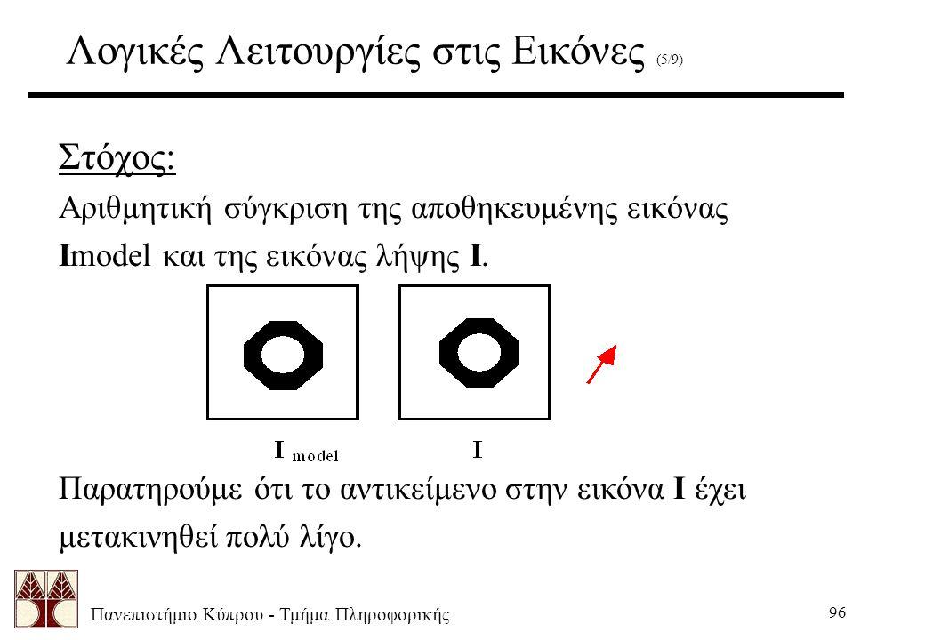 Πανεπιστήμιο Κύπρου - Τμήμα Πληροφορικής 96 Λογικές Λειτουργίες στις Εικόνες (5/9) Στόχος: Αριθμητική σύγκριση της αποθηκευμένης εικόνας Imodel και της εικόνας λήψης I.