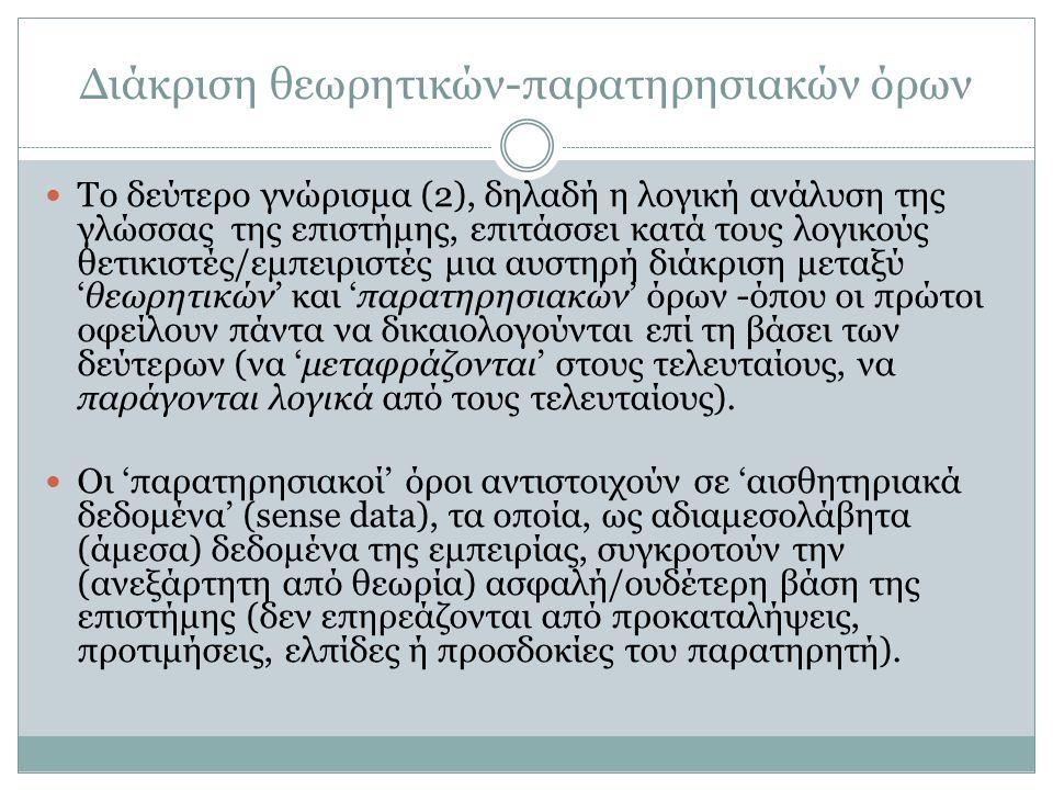 Διάκριση θεωρητικών-παρατηρησιακών όρων Το δεύτερο γνώρισμα (2), δηλαδή η λογική ανάλυση της γλώσσας της επιστήμης, επιτάσσει κατά τους λογικούς θετικ