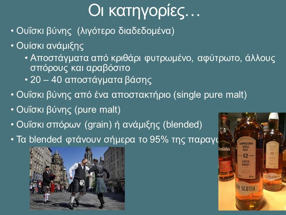 Οι κατηγορίες… Ουΐσκι βύνης (λιγότερο διαδεδομένα) Ουίσκι ανάμιξης Αποστάγματα από κριθάρι φυτρωμένο, αφύτρωτο, άλλους σπόρους και αραβόσιτο 20 – 40 αποστάγματα βάσης Ουΐσκι βύνης από ένα αποστακτήριο (single pure malt) Ουΐσκι βύνης (pure malt) Ουΐσκι σπόρων (grain) ή ανάμιξης (blended) Τα blended φτάνουν σήμερα το 95% της παραγωγής