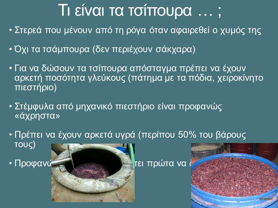 Τι είναι τα τσίπουρα … ; Στερεά που μένουν από τη ρόγα όταν αφαιρεθεί ο χυμός της Όχι τα τσάμπουρα (δεν περιέχουν σάκχαρα) Για να δώσουν τα τσίπουρα απόσταγμα πρέπει να έχουν αρκετή ποσότητα γλεύκους (πάτημα με τα πόδια, χειροκίνητο πιεστήριο) Στέμφυλα από μηχανικό πιεστήριο είναι προφανώς «άχρηστα» Πρέπει να έχουν αρκετά υγρά (περίπου 50% του βάρους τους) Προφανώς τα στέμφυλα πρέπει πρώτα να ζυμωθούν