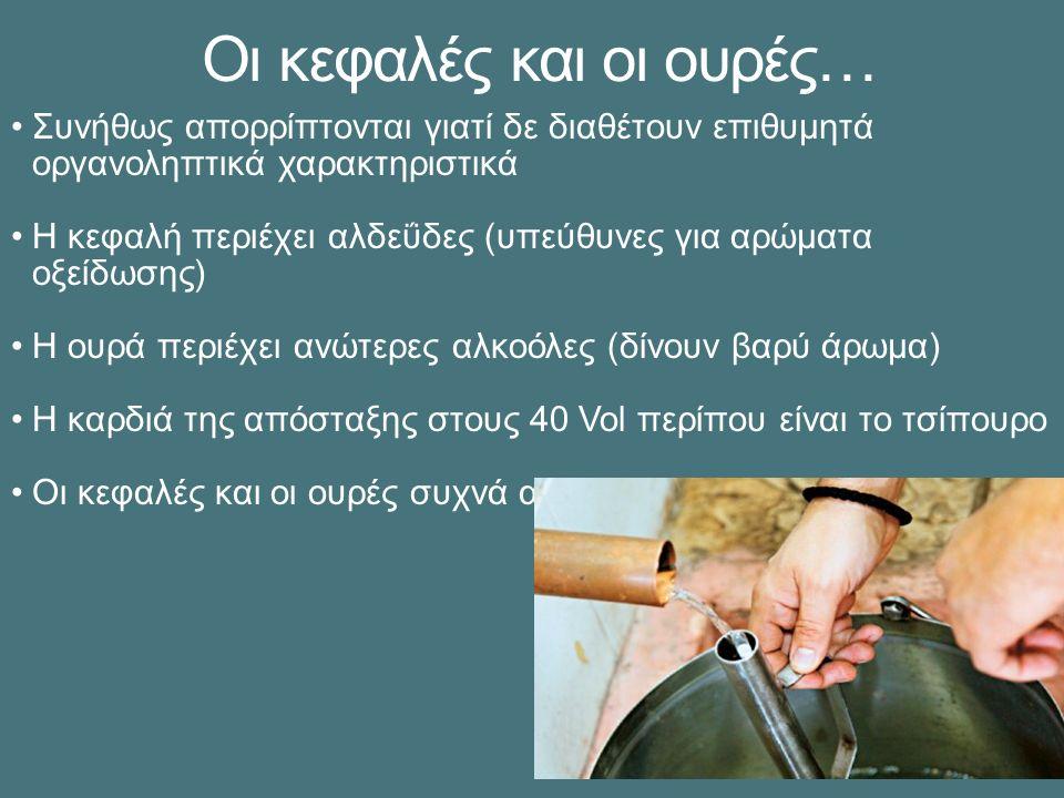 Οι κεφαλές και οι ουρές… Συνήθως απορρίπτονται γιατί δε διαθέτουν επιθυμητά οργανοληπτικά χαρακτηριστικά Η κεφαλή περιέχει αλδεΰδες (υπεύθυνες για αρώματα οξείδωσης) Η ουρά περιέχει ανώτερες αλκοόλες (δίνουν βαρύ άρωμα) Η καρδιά της απόσταξης στους 40 Vol περίπου είναι το τσίπουρο Οι κεφαλές και οι ουρές συχνά αποστάζονται εκ νέου