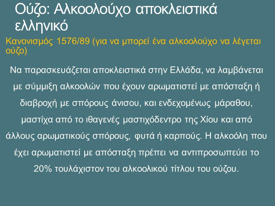 Ούζο: Αλκοολούχο αποκλειστικά ελληνικό Κανονισμός 1576/89 (για να μπορεί ένα αλκοολούχο να λέγεται ούζο) Να παρασκευάζεται αποκλειστικά στην Ελλάδα, να λαμβάνεται με σύμμιξη αλκοολών που έχουν αρωματιστεί με απόσταξη ή διαβροχή με σπόρους άνισου, και ενδεχομένως μάραθου, μαστίχα από το ιθαγενές μαστιχόδεντρο της Χίου και από άλλους αρωματικούς σπόρους, φυτά ή καρπούς.