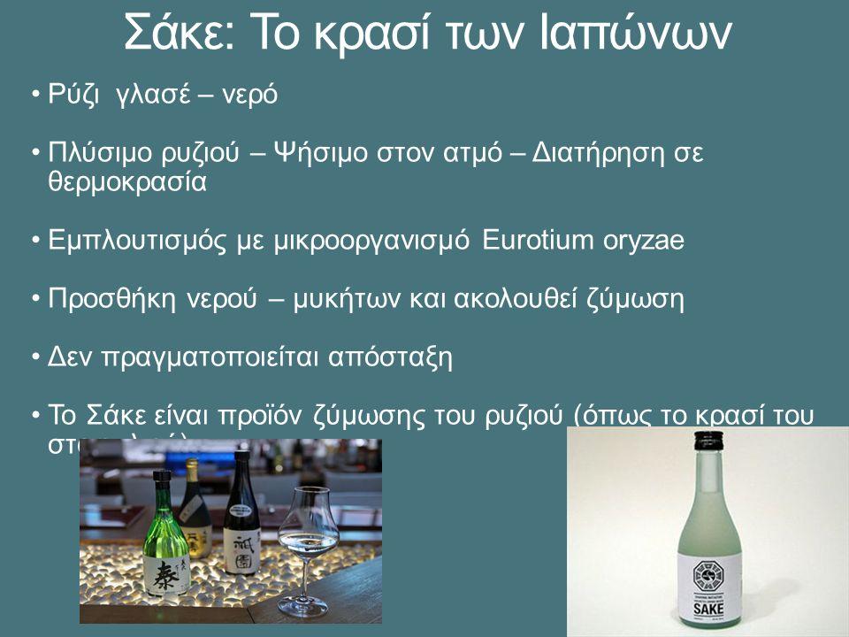 Σάκε: Το κρασί των Ιαπώνων Ρύζι γλασέ – νερό Πλύσιμο ρυζιού – Ψήσιμο στον ατμό – Διατήρηση σε θερμοκρασία Εμπλουτισμός με μικροοργανισμό Eurotium oryzae Προσθήκη νερού – μυκήτων και ακολουθεί ζύμωση Δεν πραγματοποιείται απόσταξη Το Σάκε είναι προϊόν ζύμωσης του ρυζιού (όπως το κρασί του σταφυλιού)